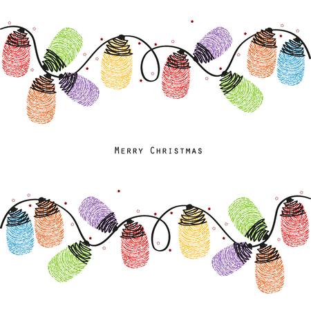 finger prints: Christmas light bulb colorful finger prints greeting card vector