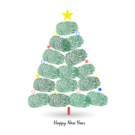finger prints: Happy new year pine tree vector greeting card with finger prints