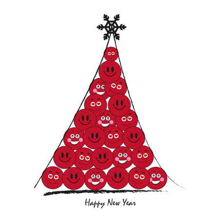 Happy new year greeting card vector tree with funny smiley