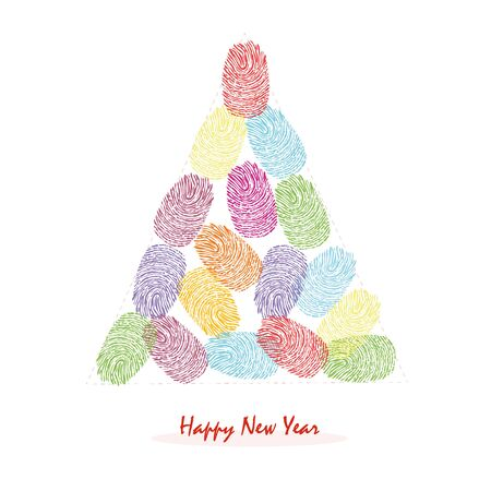 finger prints: Happy New Years pine tree with colorful finger prints vector greeting card