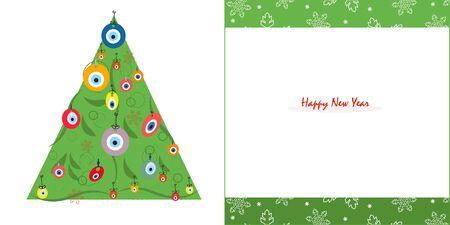 happy new years: Happy New Years pine tree with eye beads and snowflake greeting card vector Illustration