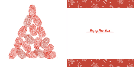 finger prints: Happy New Years pine tree with red finger prints and snowflake greeting card vector