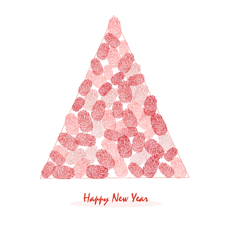 finger prints: Happy New Years pine tree with red finger prints vector greeting card