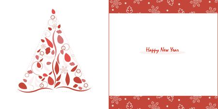happy new years: Happy New Years pine tree with red leaves and snowflake greeting card vector Illustration