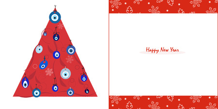 red eye: Happy new years pine tree with red eye beads and snowflake greeting card vector Illustration