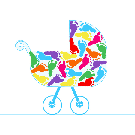 baby foot: Baby stroller vector background with colorful baby foot Illustration