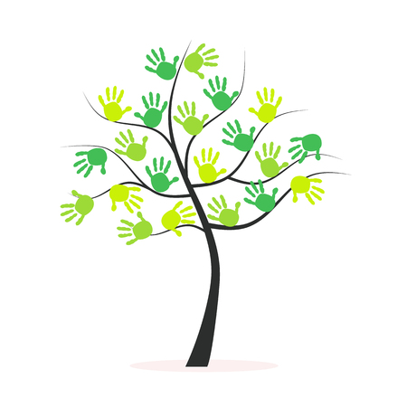 hand prints: Green tree vector background with hand prints