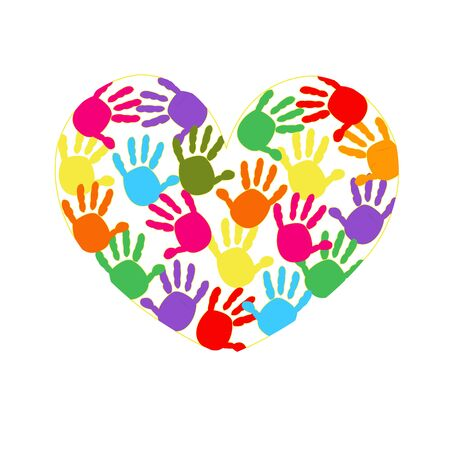 hand print: Heart vector background with colorful hand prints