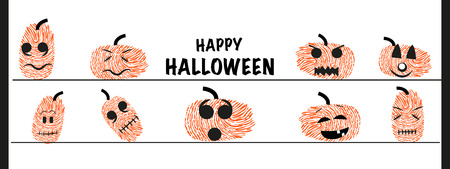 finger prints: Funny Halloween pumpkin with finger prints vector greeting Illustration