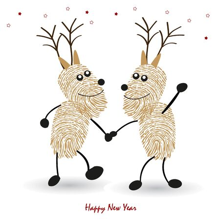 finger prints: Happy new year greeting card with finger prints Rein deers vector