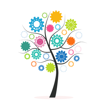 Industrial innovation concept tree made from colorful cogs and gears vector