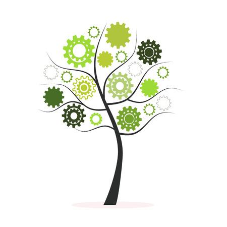 Groene boom gemaakt van radertjes en tandwielen vector