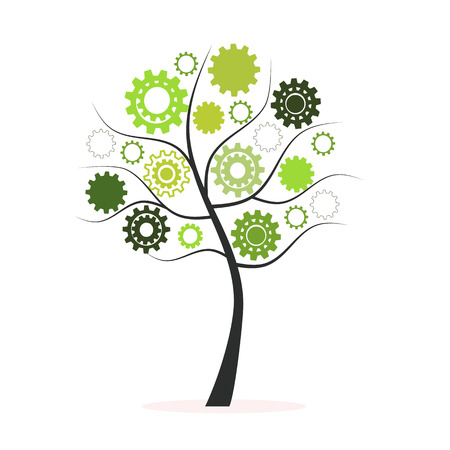 Green tree made from cogs and gears vector