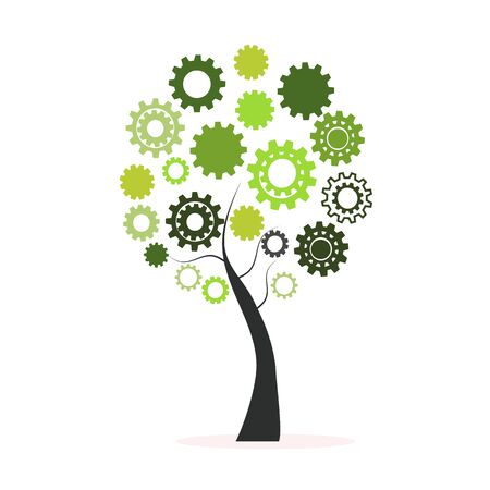 engineering icon: Green tree made from cogs and gears vector