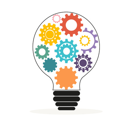 Light bulb with colorful gears and cogs vector