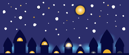 Night glow from city lights, vector background