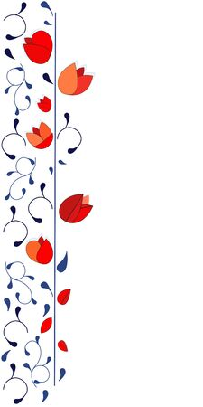 Red tulips vertical vector background texture design Иллюстрация