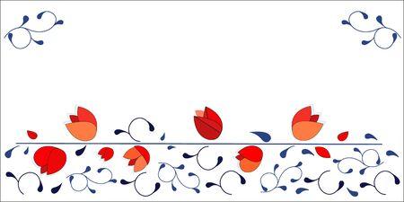 horizontal: Red tulips vector design background horizontal design Illustration