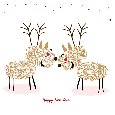 finger prints: Rein Deers with finger prints Happy new year greeting card vector Illustration