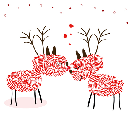 finger prints: Reindeers with finger prints kissing vector