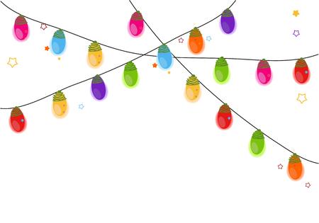 Colorful Christmas light bulb vector background Stock Illustratie