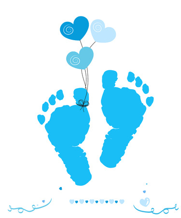 Baby boy foot prints with hearts balloon vector greeting card