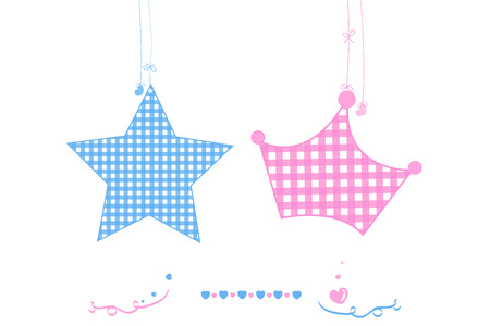 Twin baby star with crown baby boy and girl arrival greeting card vector