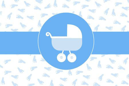 baby foot: Baby boy stroller with baby foot print background vector