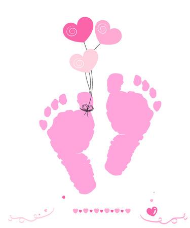 pied fille: B�b� empreintes de vecteur de carte fille de voeux avec des coeurs ballon Illustration