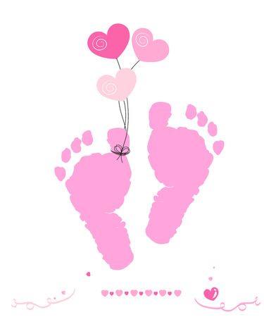 child feet: Baby girl greeting card vector foot prints with hearts balloon Illustration