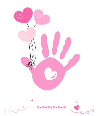 hand print: Baby girl with hearts balloon vector hand prints greeting card