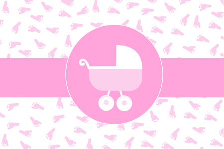 baby foot: Baby girl stroller with baby foot print background vector
