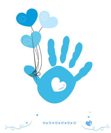 hand print: Baby hand prints vector greeting card with hearts balloon