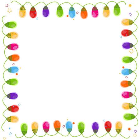 Christmas light bulb frame vector background