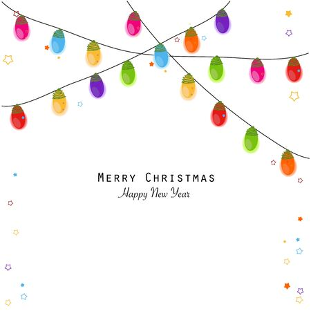 Christmas light bulbs colorful new year greeting card vector