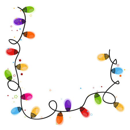 christmas lights: Christmas light bulb new year greeting card vector