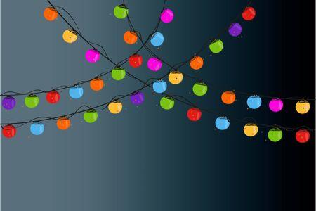 christmas light bulbs: Christmas light bulbs in the night vector background