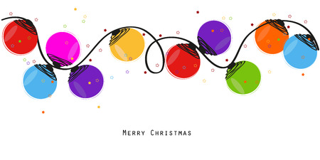 christmas lights: Colorful Christmas light bulb happy new year greeting card vector