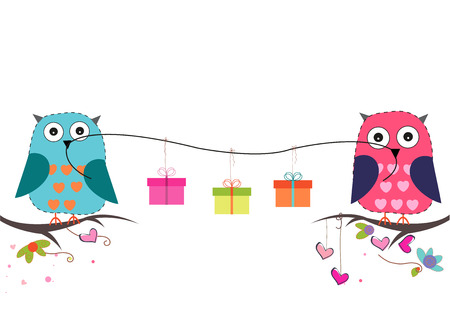 party animals: Cute owls with gift box vector background Illustration