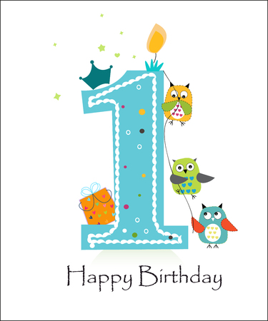 number of animals: Happy first birthday with owls baby boy greeting card vector Illustration