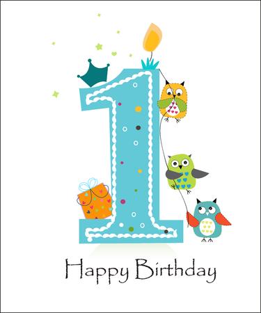 urodziny: Pierwsze Happy Birthday z sowy baby boy karty z pozdrowieniami wektora