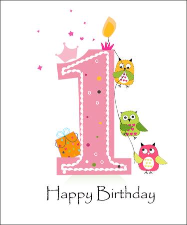 올빼미 아기 소녀 인사말 카드 벡터와 함께 행복 한 첫 번째 생일