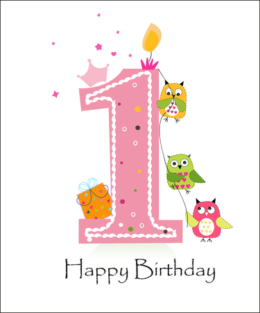 party animal: Happy first birthday with owls baby girl greeting card vector