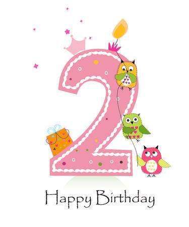 フクロウの赤ちゃん女の子グリーティング カード ベクトルと幸せな第 2 誕生日キャンドルします。