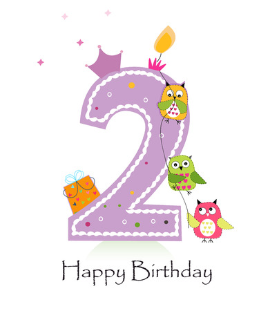 Happy second birthday candle greeting card with owls baby girl Stock Illustratie