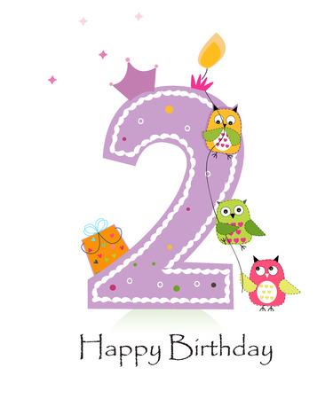 Segunda tarjeta de felicitación de la vela del cumpleaños feliz con la muchacha búhos del bebé Foto de archivo - 47878761
