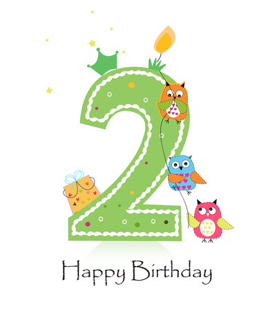 Happy second birthday candle with owls greeting card vector