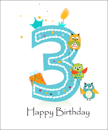 and the third: Happy third birthday, baby boy greeting card with owls vector