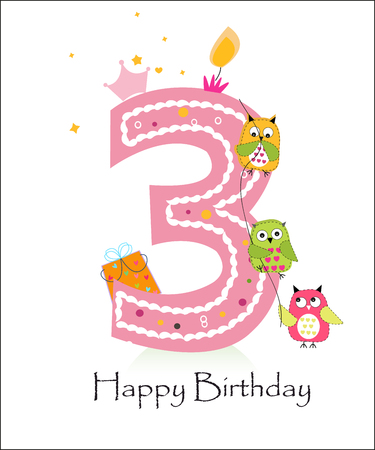 Happy third birthday, baby girl greeting card with owls vector