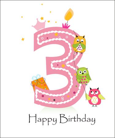Tercer cumpleaños feliz, tarjeta de felicitación del bebé con los búhos del vector Foto de archivo - 47878763